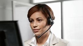 Frau Kundenkontakt Headset